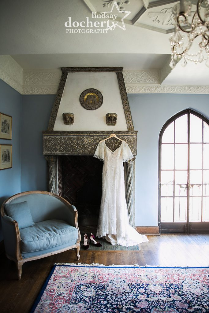 lace wedding gown with sleeves at Aldie Mansion