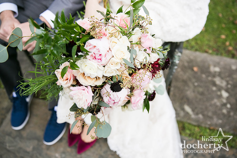 light and dark pinks in large brides wedding bouquet