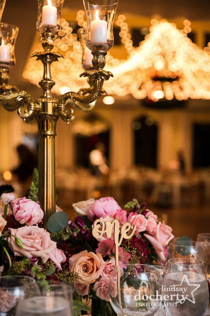 pink and white and gold winter wedding centerpieces at Aldie Mansion