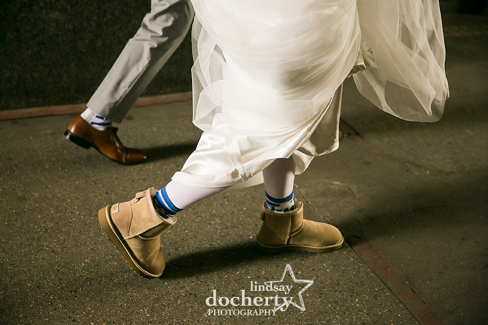 R2D2 blue Star Wars socks on bride and groom with Uggs