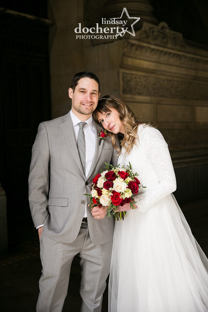beautiful bride and groom portrait on Valentines Day wedding day at Philadelphia City Hall