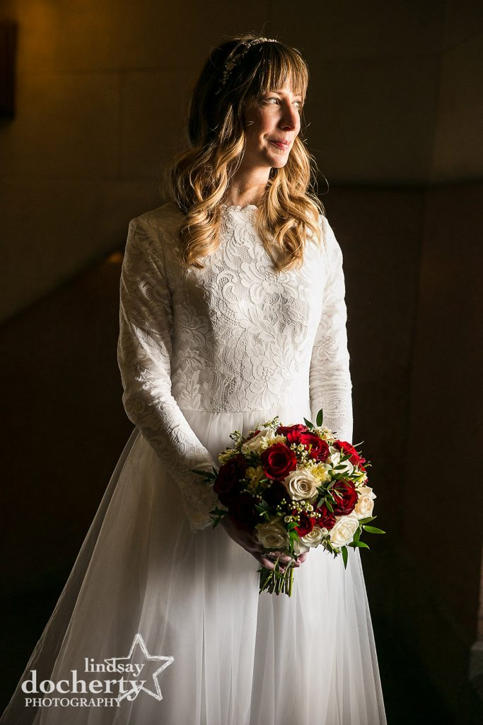 beautiful bride in white wedding dress at Philadelphia City Hall