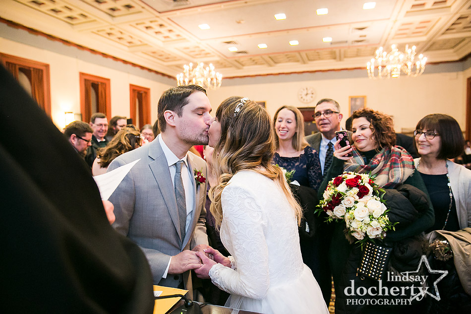 first kiss at wedding ceremony at Philadelphia City Hall on Valentines Day