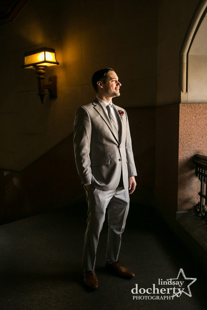 groom portrait on wedding day at Philadelphia City Hall