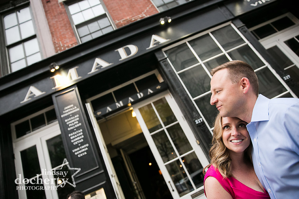 couple outside restaurant of first date in Philly