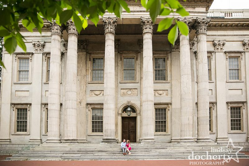 hot couple in Old City Philadelphia in front of 2nd bank