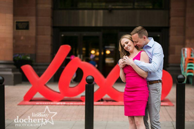 neck kisses outside the Bourse in Philadelphia