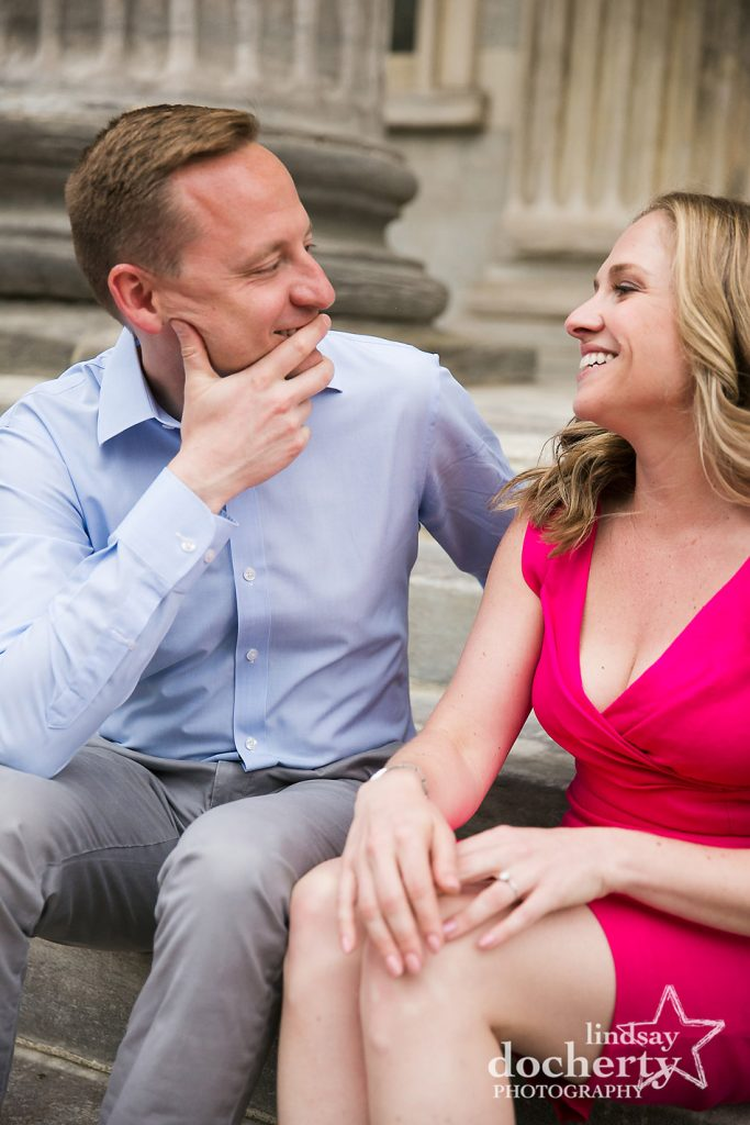 sweet candid image of engaged couple in Philadelphia Old City