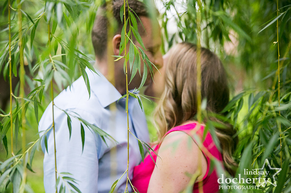 sweet kisses under a willow tree in Old City Philadelphia