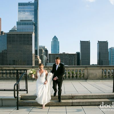 bride and groom on skyline terrace at the Free Library on the Parkway in Philadelphia