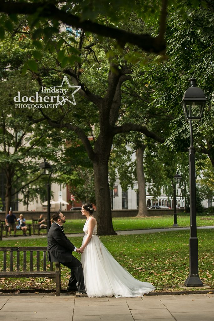 bride and groom together at Washington Square Park
