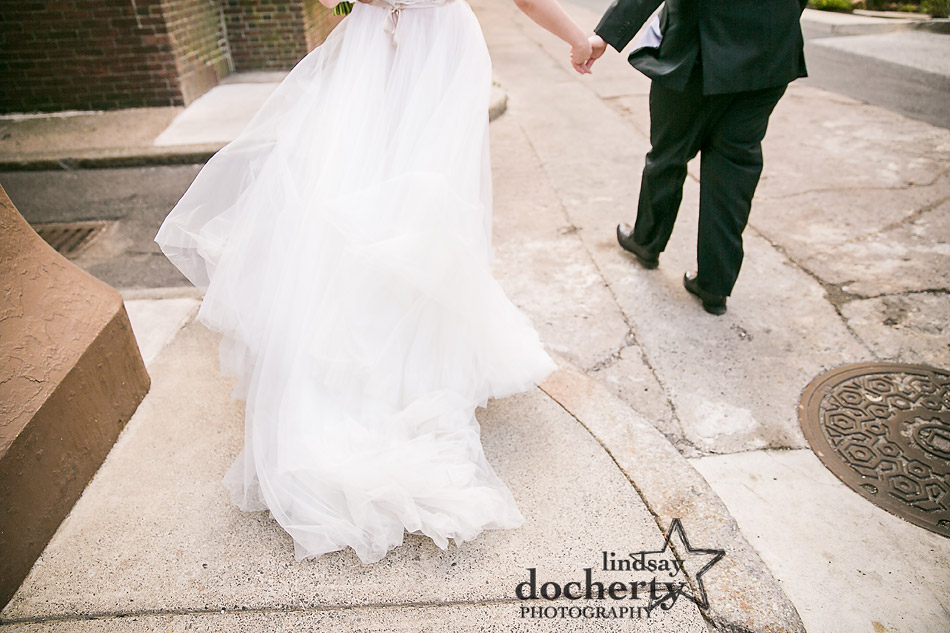 fluffy wedding dress from behind in Philadelphia