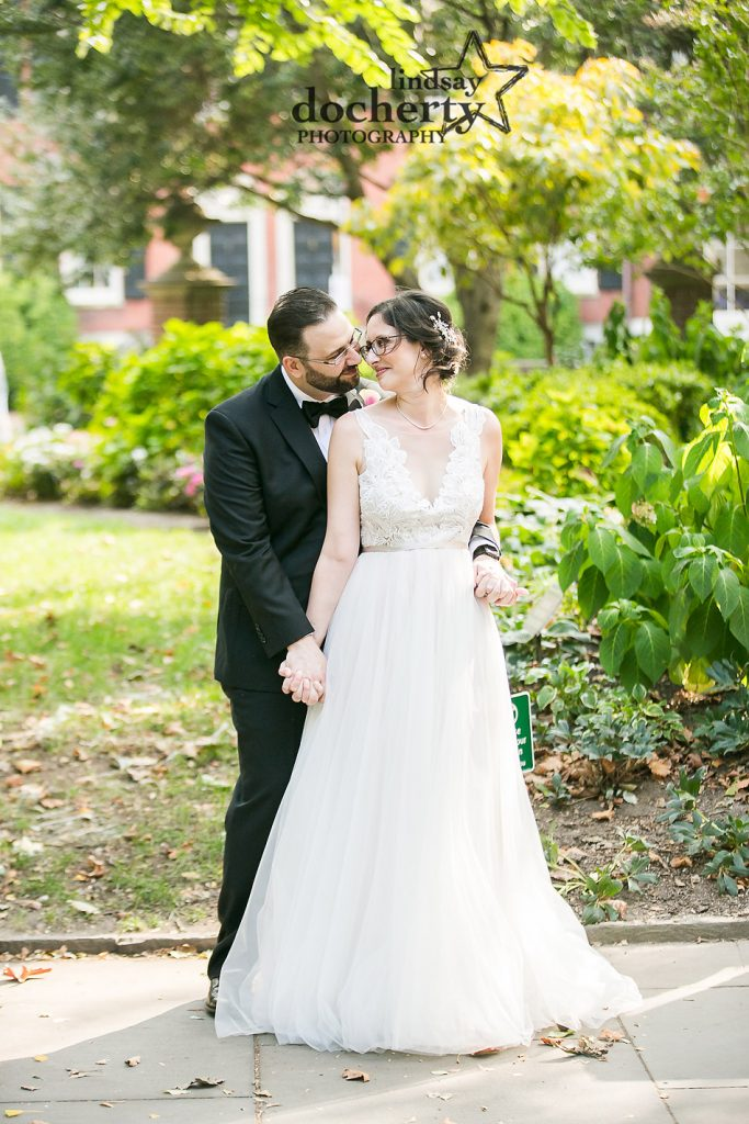 gorgeous fall wedding portrait in Washington Square in Philadelphia