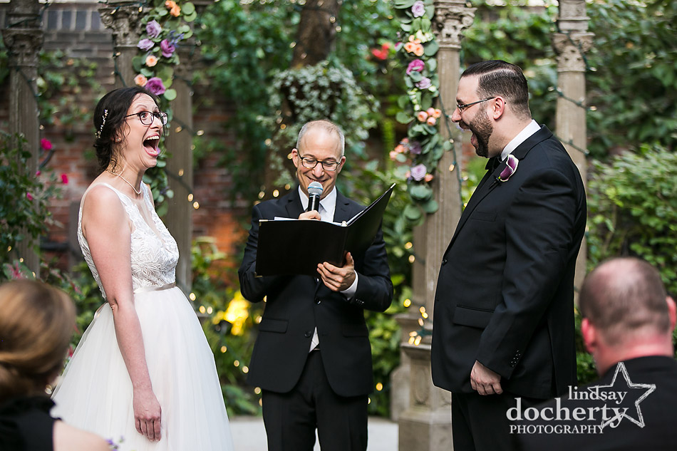 laughing during ceremony at Morris House Hotel in Philadelphia