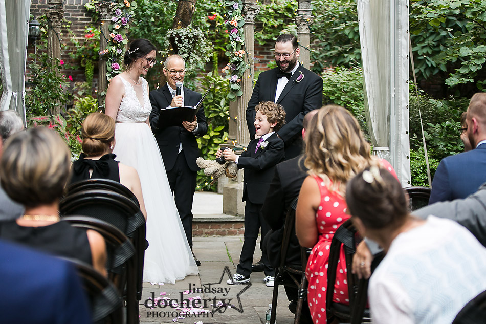 ring bearer during outdoor ceremony at Morris House Hotel in Philadelphia
