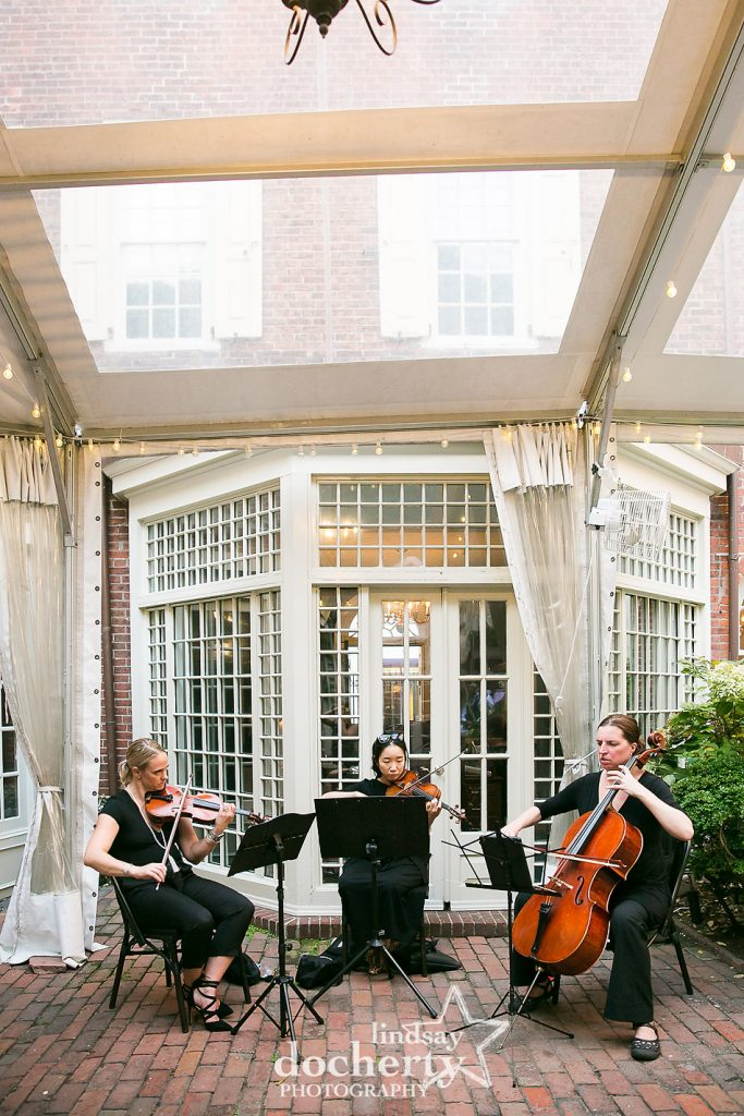 string trio playing at Morris House Hotel in Philadelphia