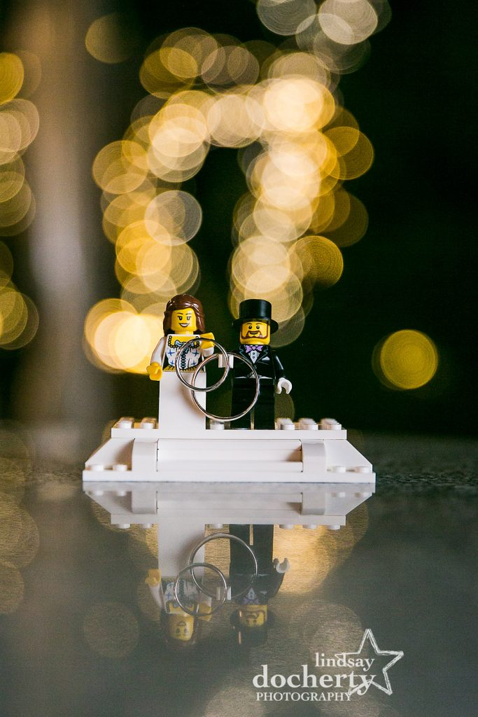 wedding bands on tiny lego bride and groom