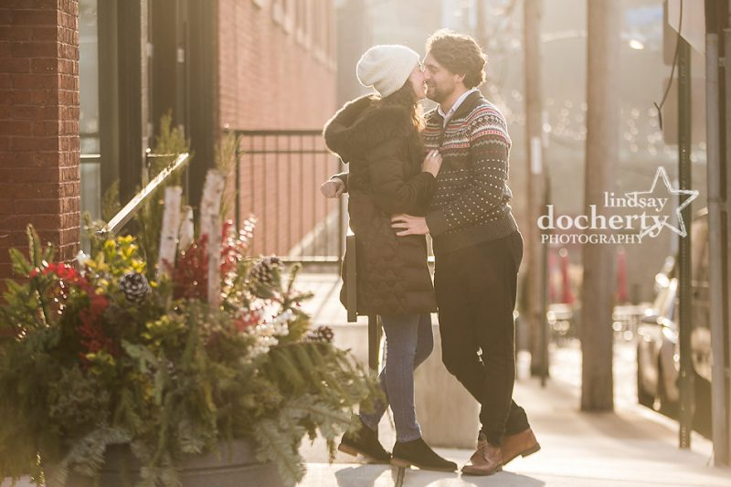 holiday engagement session in Manayunk with winter daylight