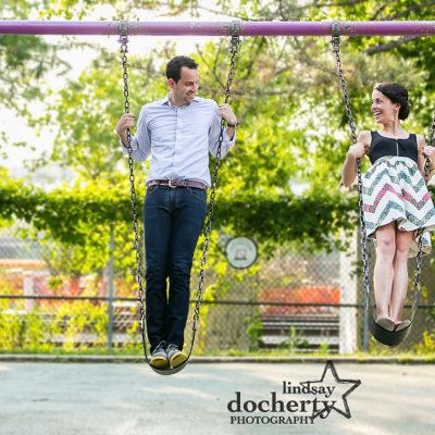 Engagement session at Philadelphia's Schuylkill River Park on swings