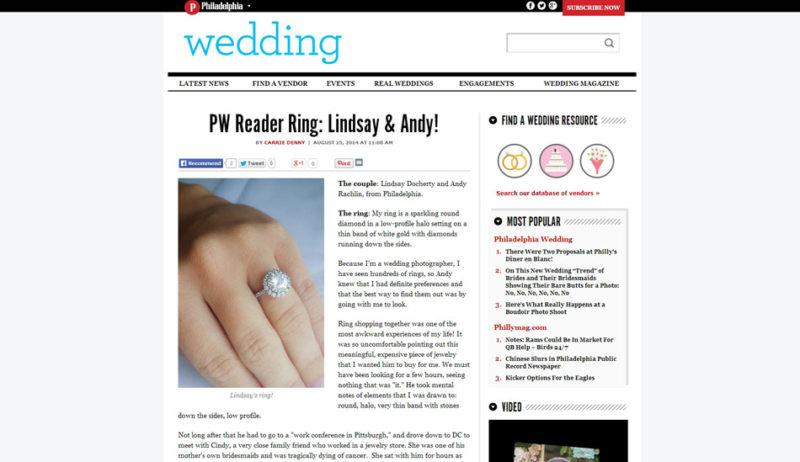 Philadelphia Wedding magazine blog reader ring