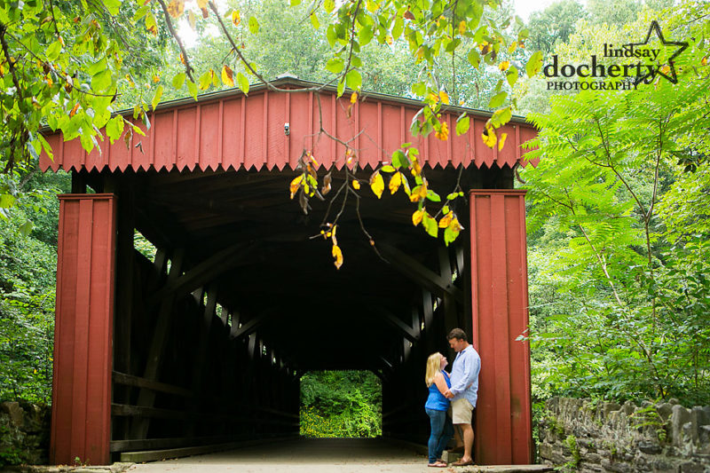 Chestnut Hill, Philadelphia engagement session in Wissahickon Park with big red barn