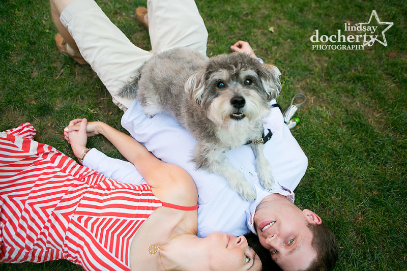 Pet Schnauzer dog at engagement session in Old City Philadelphia engagement pictures