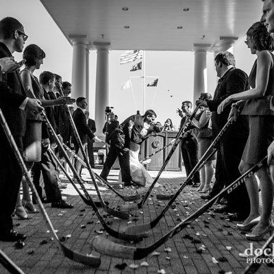 Hockey stick wedding exit at Washington DC wedding reception