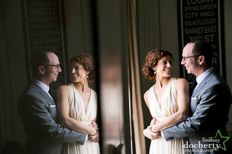 reflection bride and groom at Philadelphia Hotel Palomar