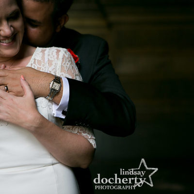 intimate picture of bride and groom laughing in Philadelphia