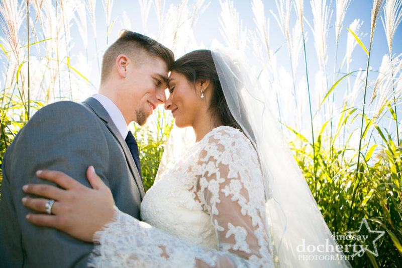 fall wedding at Llanerch Country Club bride in lace sleeves