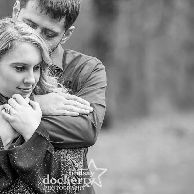 black and white New Hope engagement picture by the bridge
