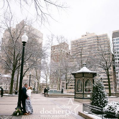 winter wedding day in Rittenhouse Square with snow