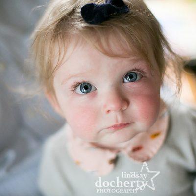 huge blue eyes on baby girl
