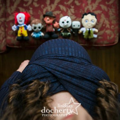 pregnant belly and horror movie dolls