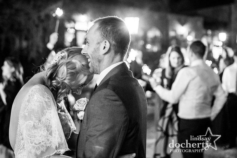 sweet moment between bride and groom at Aldie Mansion wedding