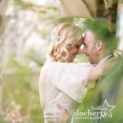 wedding bride and groom after first look at Aldie Mansion