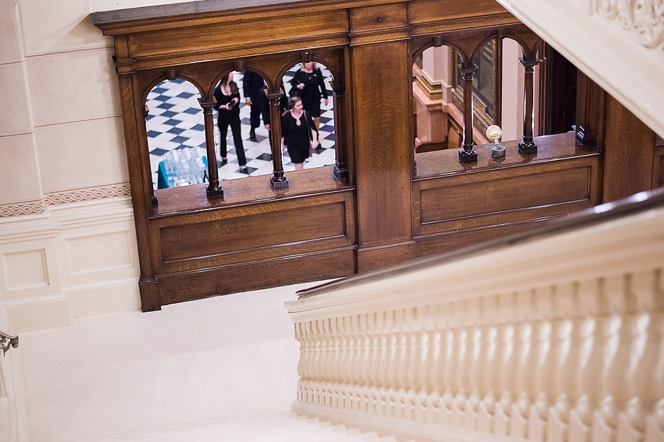 view-down-stairway-onto-first-floor-at-One-North-Broad